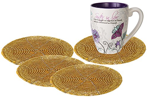 - SKAVIJ Glass Beads Tea Coasters Set of 4 for Home and Office Desk (Dia - 4 Inch, Gold)