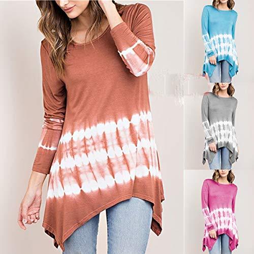 Casual Col Automne Fashion Printemps Irregulier Longues et Femmes Hauts Manches Shirts Tops Blouse Gris Pretty Jumpers Pulls Imprime Rond Tees T qIXpwX