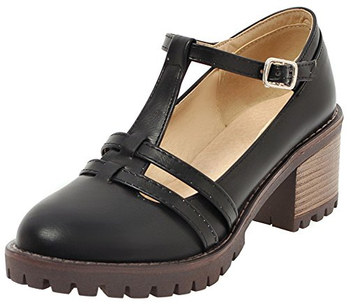 Mofri Women's Trendy Buckle T-Strap Round Toe Cut Out Block Medium Heel Pumps Shoes (Black, 10 B(M) -