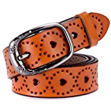 Ayli Women's Jean Belt, Flower and Heart Handcrafted Genuine Leather Belt, Brown, Fits Waist 25'' to 33'' (US Pant/Dress Size 0-12), bt6c003br100