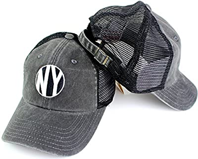 New York American Needle Raglan Bones Mesh Back Slouch Adjustable Trucker Hat by American Needle