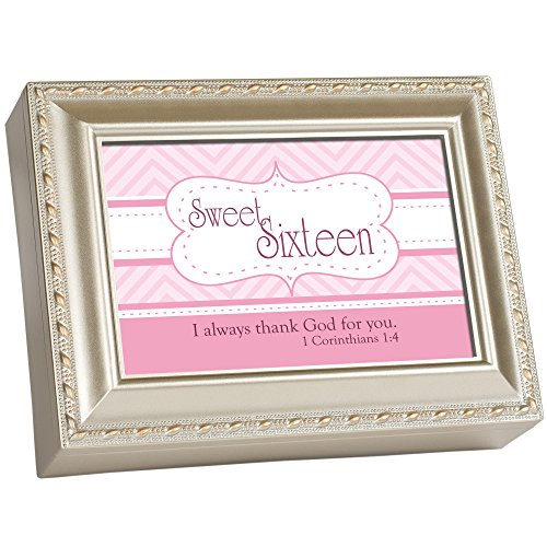 (Cottage Garden Sweet Sixteen Thank God for You Silvertone Rope Trim Jewelry Music Box Plays Amazing Grace)