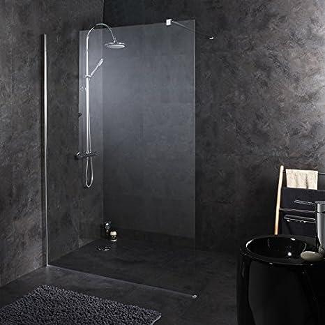 Mampara de ducha fija 140 x 195 cm, todo acero inoxidable de alta definición: Amazon.es: Hogar