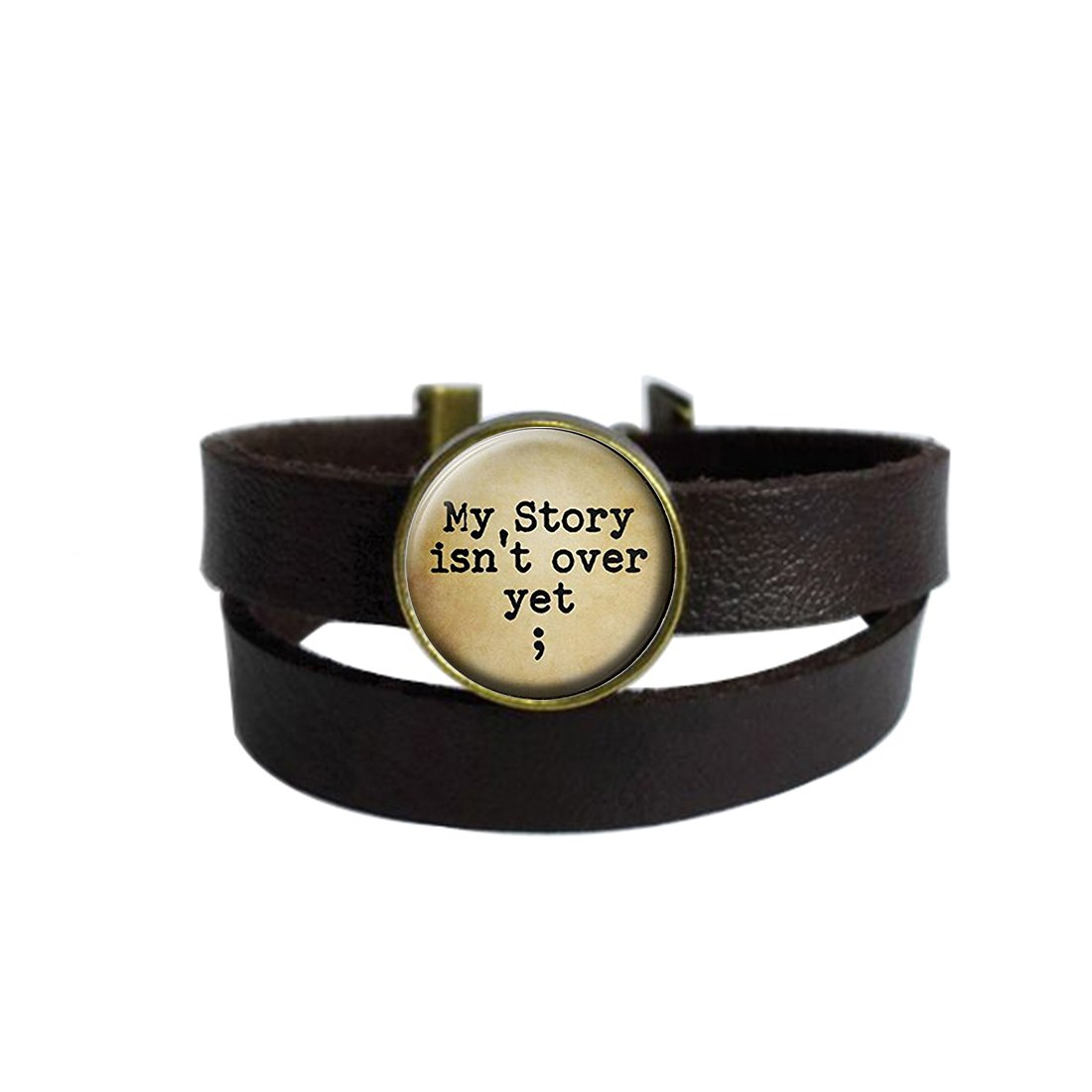 Two Layers Design Dark Brown Leather Cuff Bangle New Fashion My story isn't over yet Retro Rope Wristband Bracelet with Glass Pendant