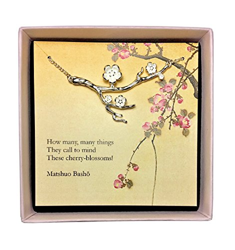 Les Bohémiens Spring Pink Cherry Blossom Sakura Flower Sterling Silver Plated Branch Pendant Necklace Perfect Last Minute Gift for Women - Box, Card & Envelope Included for Easy Gifting (Branch 1)