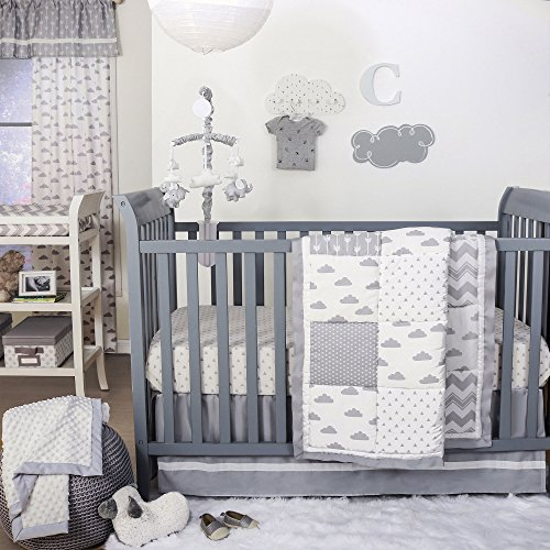 Patchy Cloud and Grey Geometric Baby Crib Bedding - 11 Piece Sleep Essentials Set