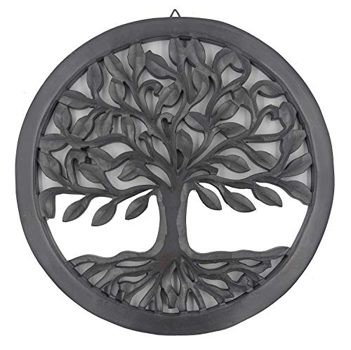 (DharmaObjects Handcrafted Wooden Tree of Life Wall Decor Hanging Art (Black))