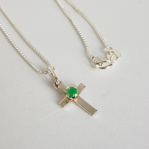 Round Colombian Emerald - Cross necklace with Colombian Emerald by D'Mundo Accesorios. Christmas Gift. Genuine Colombian round cut Emerald. 925 Sterling silver cross necklace.