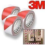 """3M Red & White Hazard Warning/Safety Stripe Tape 2"""" x 36 Yard (3-Pack)"""