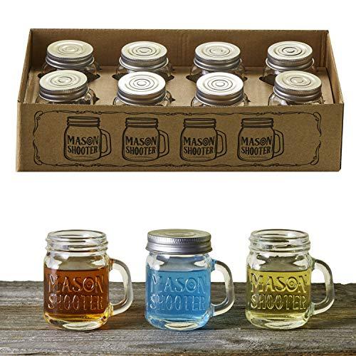 Hayley Cherie - Mason Jar Shot Glasses with Lids (Set of 8) - Mini Mason Shooter Glass with Handles - 2 - Alcohol Non Vodka
