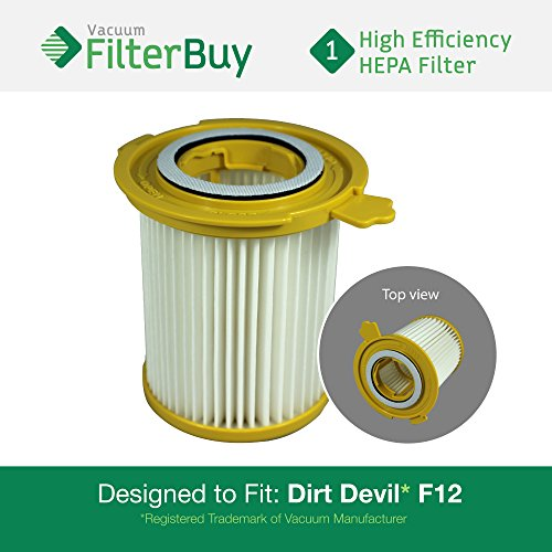 Dirt Devil F-12 (F12) HEPA Replacement Filter, Part # 3KD1680000 (3-KD1680-000). Designed by FilterBuy to fit Dirt Devil Vision Canister Vacuum Cleaners
