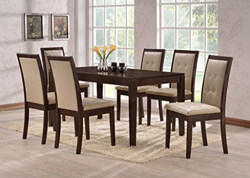 7pc Dining Set 6 Person Dinette Set Dark Espresso Finish by Malko (7pc Dining Set)