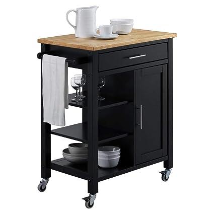 225 & 4D Concepts 43929 Edmonton Kitchen Cart Black and Natural