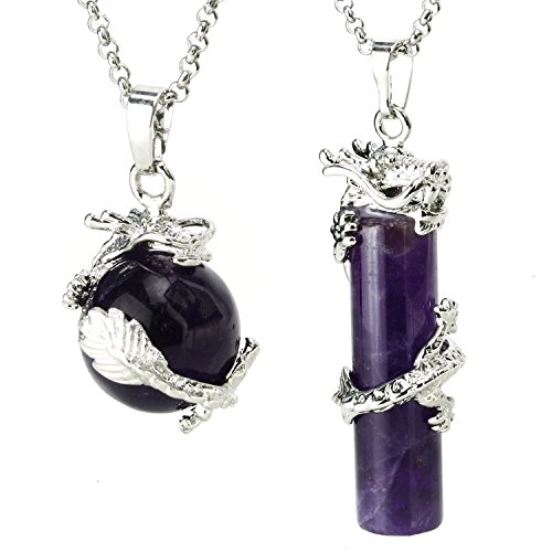 BEADNOVA 2pcs Dragon Wrapped Round Ball Cylinder Natural Amethyst Gemstone Necklace Healing Couple Pendant Necklaces ()