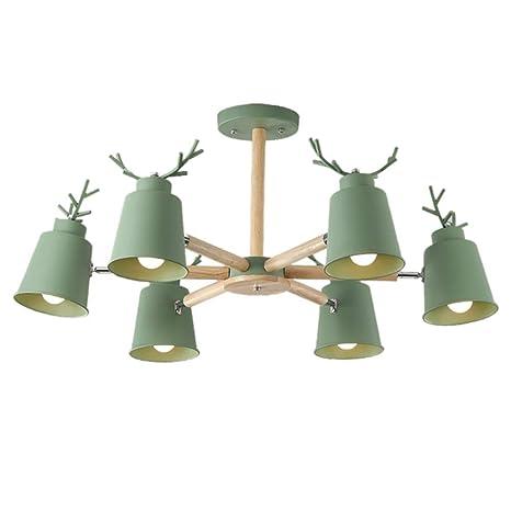 Amazon.com: Berlato - Lámpara de techo de madera con 6 luces ...