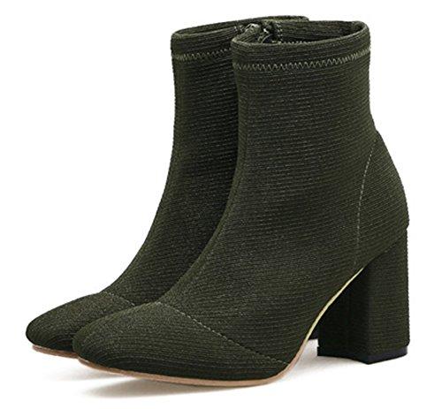 Aisun Damen Quadratische Zehen Blockabsatz High Heel Kurzschaft Stiefel Mit Reißverschluss Grün