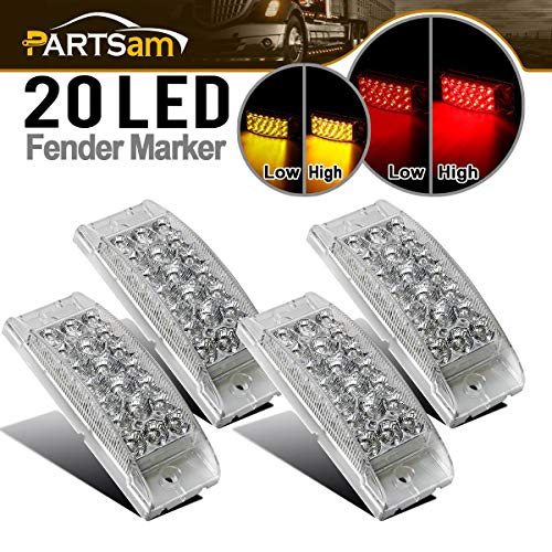 Partsam 4 Pcs 2x6 Rectangular Rectangle Led Light Kit, Yellow Led Parking and Turn Signal Lights + Red Stop Turn Tail Brake Lights, Clear Lens, Big Led Side Marker Clearance Lights, 20 Diodes