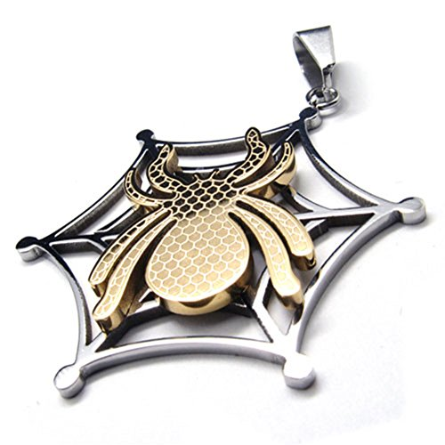 TEMEGO Jewelry Mens Stainless Steel Vinatge Pendant Gothic Spider Cobweb Necklace, Golden ()
