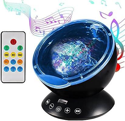 Lámpara Proyector, Proyector de Luz Océano Nocturna para 12 LED y 7 Modos, Luz del Sueño con Control Remoto y Reproductor de Música Incorporado, ...