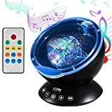 Ocean Wave Projector Night Light, Latest Upgraded Remote Control Sleep Light Lamp Built-in Music Player, 12 LED Beads and 7 Colorful Light, Auto Shutdown Function for Bathrooms, Living Rooms, Baby Rooms, Parties, Support TF Ca