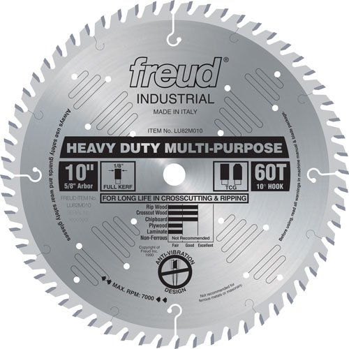 5/8 Teeth 60 Arbor (Freud LU82M010 10-Inch 60 Tooth TCG Crosscutting and Ripping Saw Blade with 5/8-Inch Arbor)