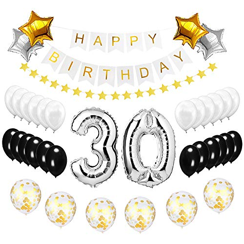 Best Happy to 30th Birthday Balloons Set - High Quality Birthday Theme Decorations for Fabulous 30 Years Old Party Supplies Silver Black Gold ()
