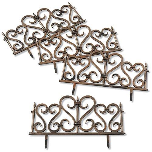 Plastic Bronze Finish Scroll Garden Fence Border Edging, Set of 4 (Edging Scroll)
