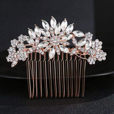Rose gold Color Crystal Bridal Hair Comb Jewelry Flower Rhinestone Hair Ornaments Wedding Hair Accessories FS251 Rose Gold Color