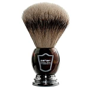 Parker Safety Razor 100% Silvertip Badger Bristle Faux Horn Handle Shaving Brush -- Brush Stand Included