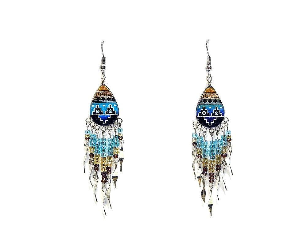 Tribal Ceramic Teardrop Long Beaded Dangle Earrings