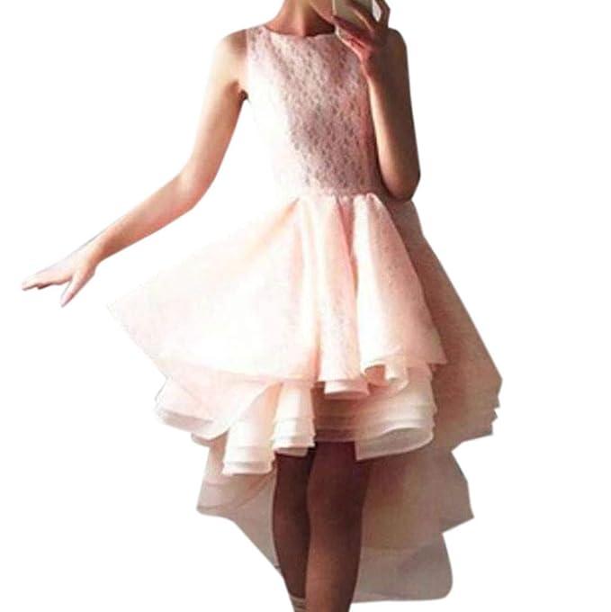 d4f6f03f5e Amazon.com  Dimanul Sexy Fashion Dress Sexy Women Sleeveless Lace Irregular  Hem Vintage Gown Evening Party Dress  Clothing