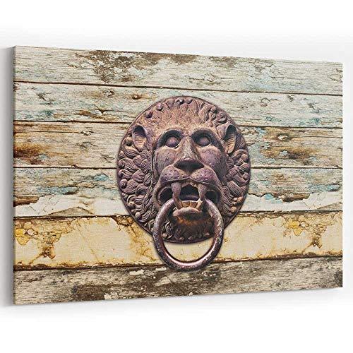Antique Bronze Lion Knocker on Retro Wooden Door Canvas Wall Art,Modern Home Decor