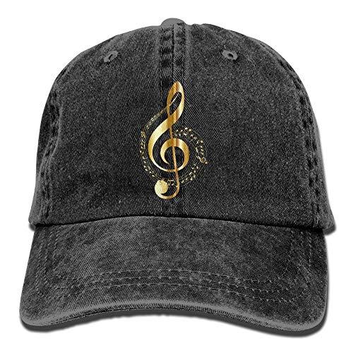 Arsmt Music Note Denim Hat Adjustable Unisex Low Baseball Hats -