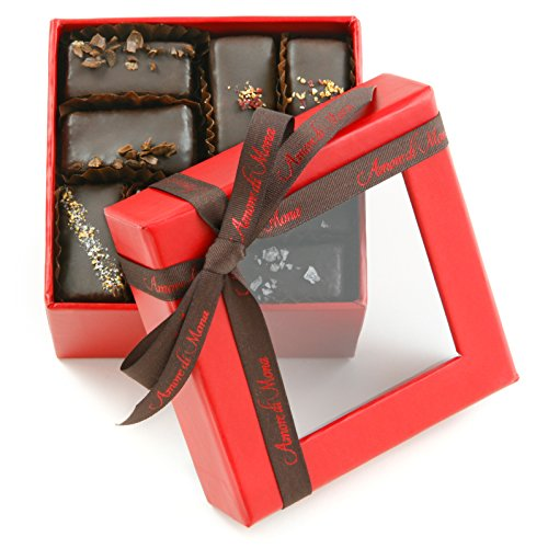 Free Dairy Truffles - Fine, Vegan Chocolate Gift: Amore di Mona Red 16 Piece Assorted Mignardise: Made Pure & Simply with Premium Ingredients That Are All Natural, Non-GMO, Kosher, Gluten, Soy, Milk, Sesame & Nut Free