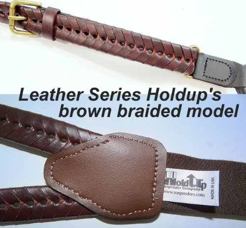 Hold-Ups-Brown-Braided-Leather-Suspenders-in-Double-ups-Style-No-slip-Clips