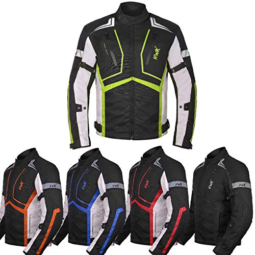 Motorcycle Jacket For Men Cordura Motorbike Racing Biker Riding Breathable CE Armored Waterproof All-Weather (Hi-Vis Green, X-Large)