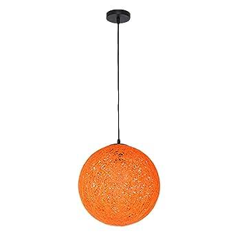 Lampe Vintage Rotin Suspension Pour Orange LuminaireE27 Retro Décoration Topdeng Pendentif Restaurant Cuisine Plafond 50cm Coloré Boules Créatif XZukPOi