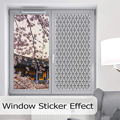 YOLIYANA Frosted Window Film Stained Glass Window Film,Geometric,Work Well in The Bathroom,Japanese Civilization Inspired Floral Arrangement Lattice Pattern Asian,24''x48''