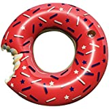 Spashtic July 4th Gigantic Donut Pool Float, Funny Inflatable Vinyl Summer Pool or Beach Toy, Patch Kit Included. Includes Cupholder - LARGE