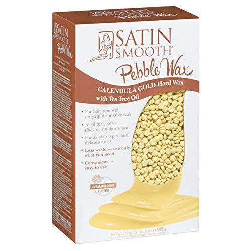 Hard Wax Gold (Satin Smooth Calendula Gold Pebble Wax with Tea Tree Oil, 35 Ounce)
