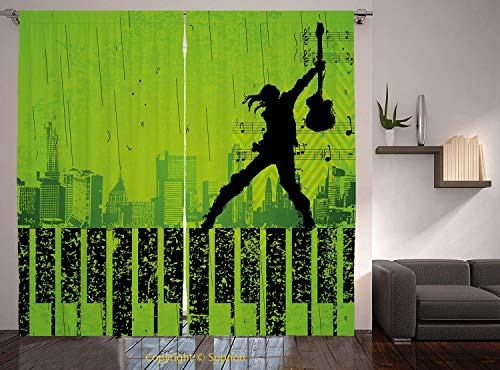 (Living Room Bedroom Window Drapes/Rod Pocket Curtain Panel Satin Curtains/2 Curtain Panels/108 x 90 Inch/Popstar Party,Music in the City Theme Singer with Electric Guitar on Grunge Backdrop,Lime)