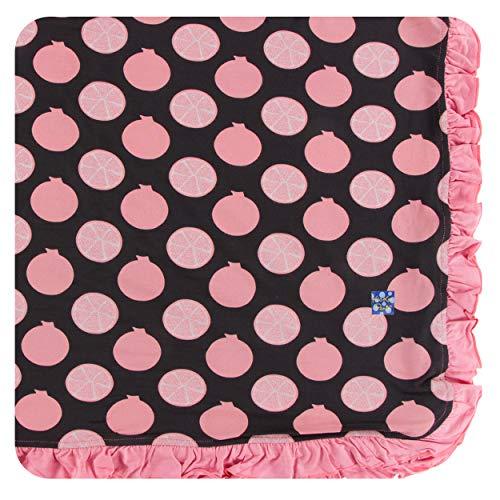 KicKee Pants Little Girls Print Ruffle Toddler Blanket - Zebra Pomegranate, One Size