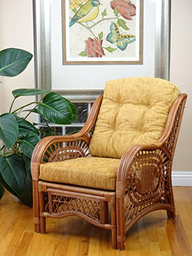 Malibu Lounge Armchair Natural Rattan Wicker Handmade Design with Light Brown Cushion, Colonial
