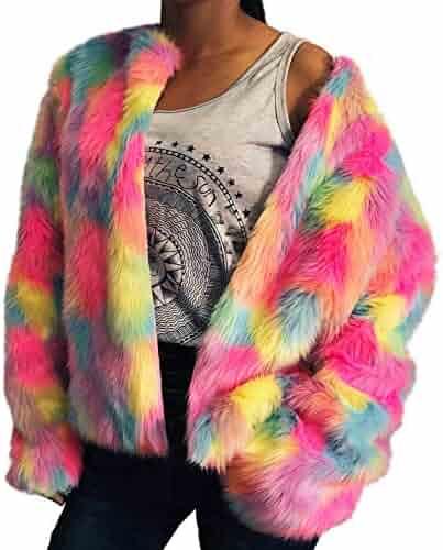 Women Colorful Faux Fur Coat, Sttech1 Winter Warm Jacket Cardigan Long Sleeve Outerwear Tops