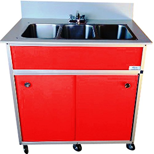 Monsam PSE-2003R Three Deep Compartment Portable Sink, Red