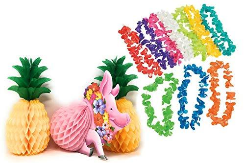 Luau Party Decorations Centerpieces 1 Pig and 2 Pineapples / 10 Pcs Floral Leis Assorted Colors Bundle]()