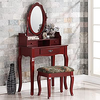 2-Piece Ribbon Wood Makeup Vanity Table Set with 3-Drawers, Swivel Mirror and Stool