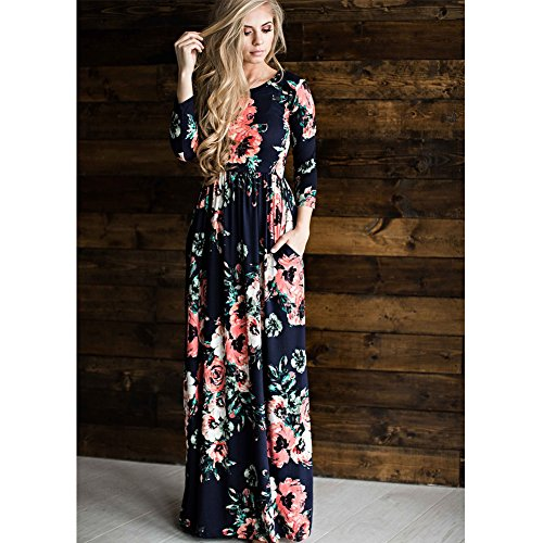 Print DREAMLOVER Pocket Maxi Sleeve Dress Casual Dress Long Navy Long Floral Blue Retro Women with Eq7fqA