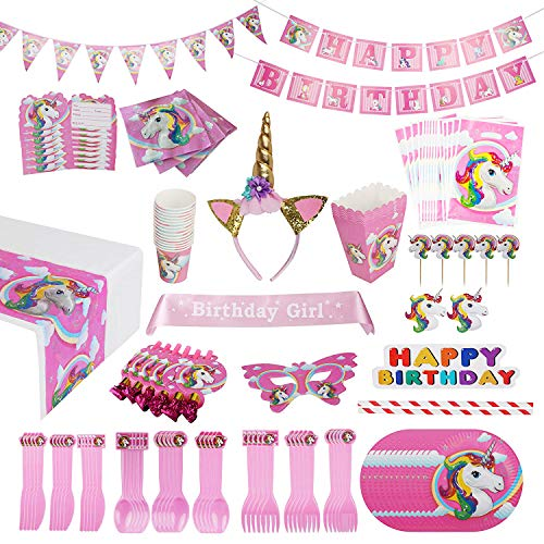 Unicorn Party Supplies Pack [15 Guests] WITH Sash and Horn Unicorn Headband for Girls Costume – 163 pcs Unicorn Party Favors, Birthday Party Decorations, Unicorn Party Bags Unicorn Plates Party Bann