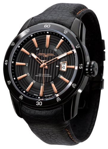 Jorg Gray JG3700-12 Black Leather Rose Gold Swiss ISA Movement Patterned Mens Wrist Watch